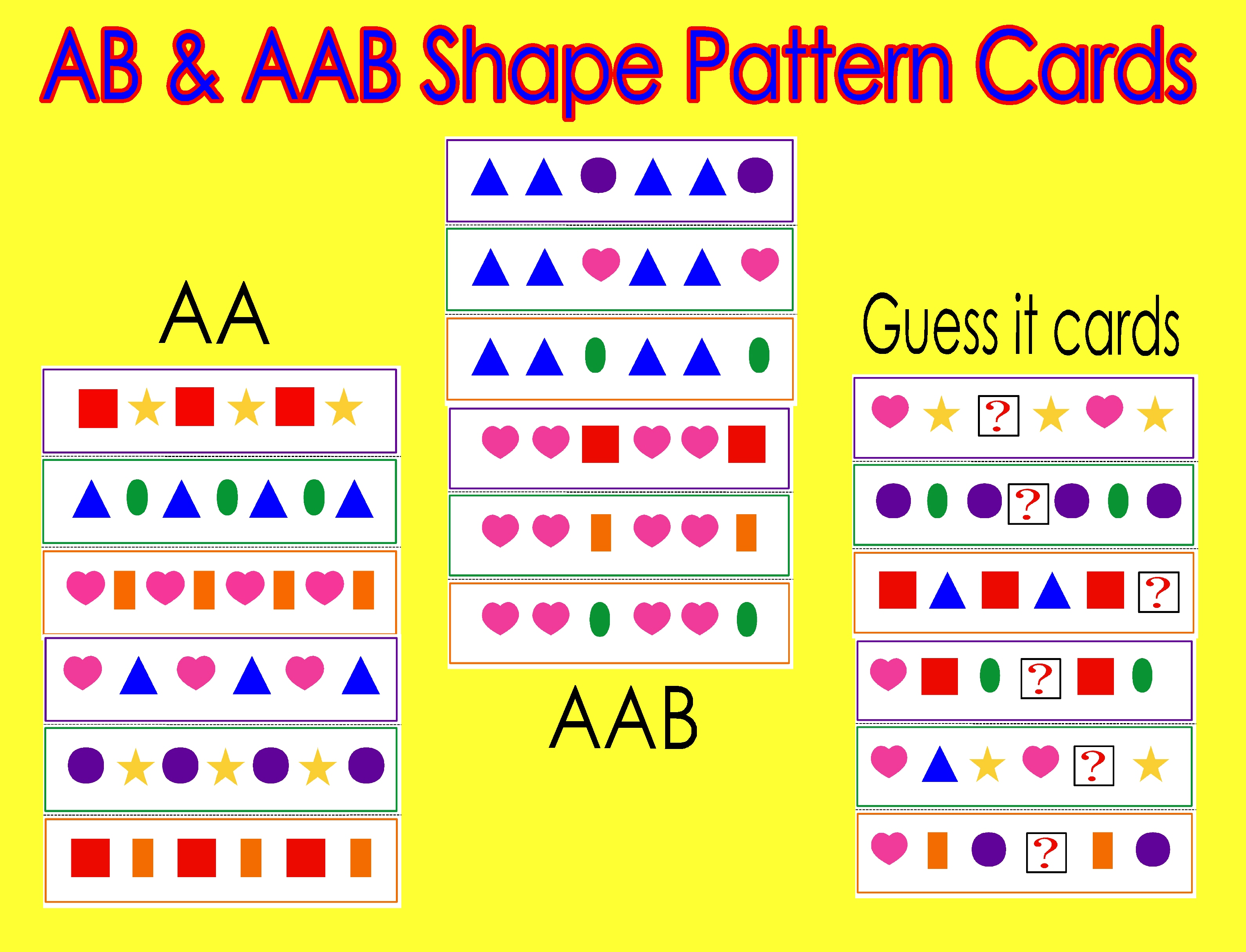 ab aab shape pattern cards meet the needs. Black Bedroom Furniture Sets. Home Design Ideas