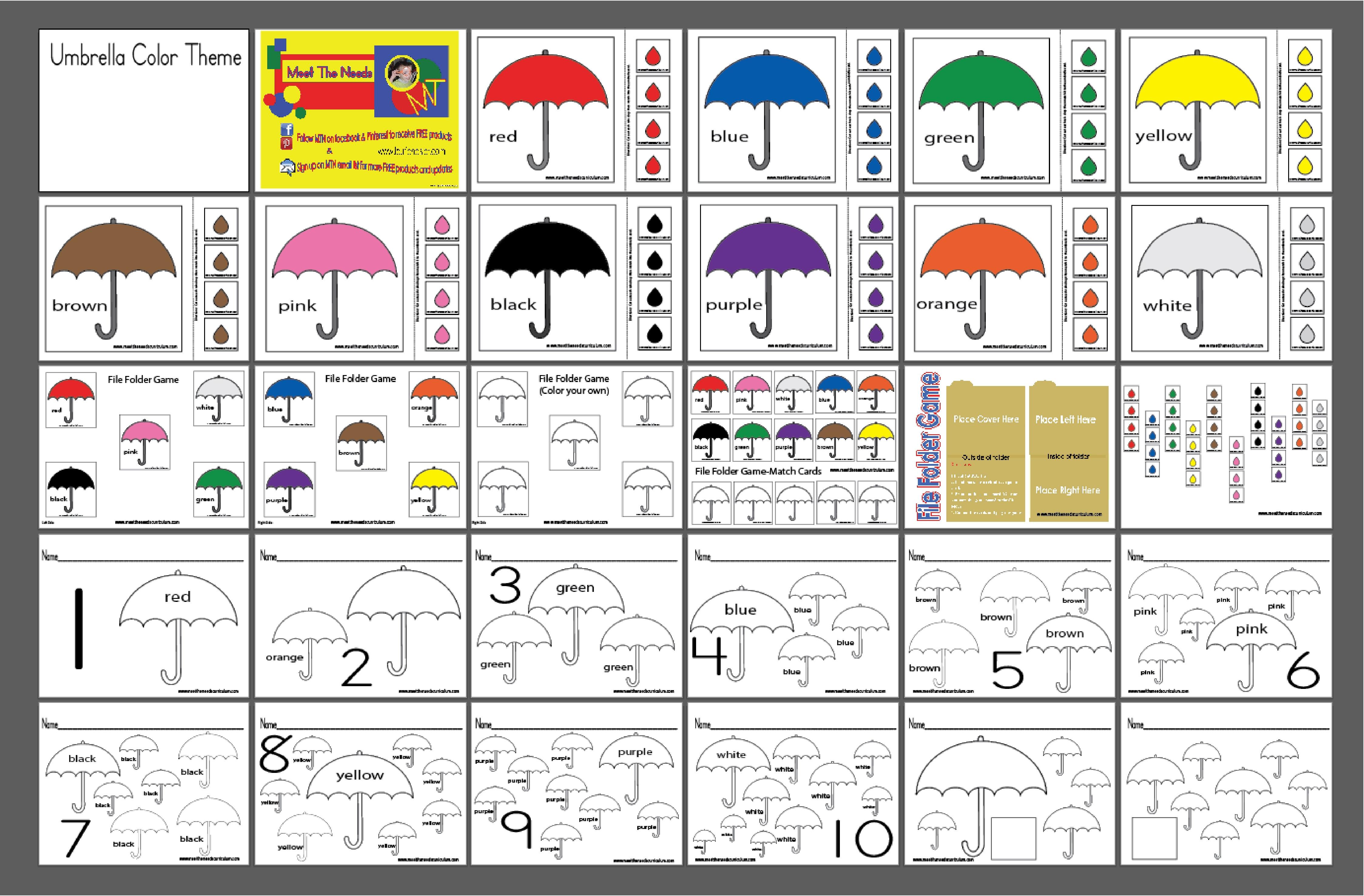 free file folder game templates - umbrella color set file folder game meet the needs