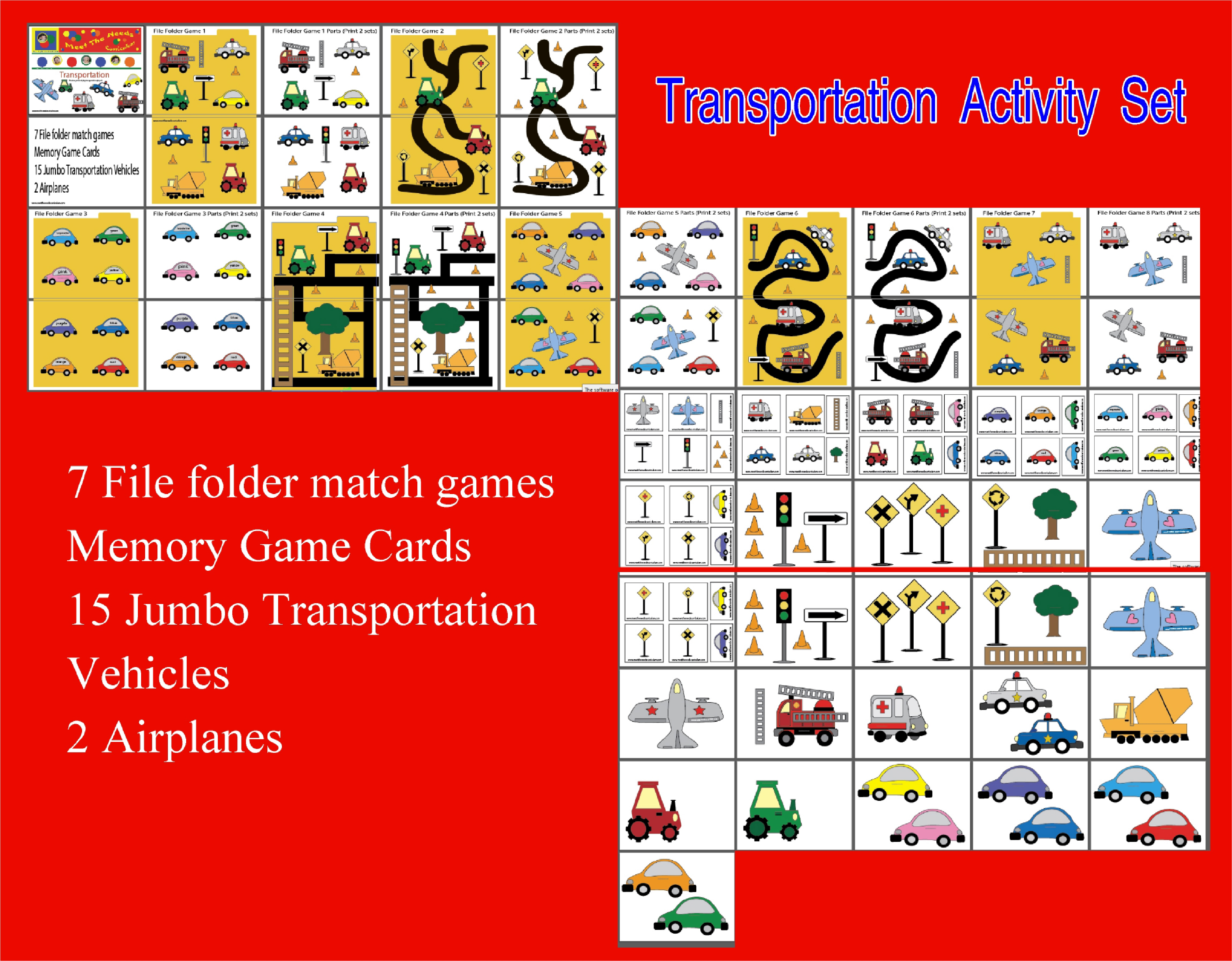Transportation file folder game activity set set meet for Free file folder game templates